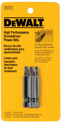 Dewalt DW2026 #2 2IN Phillips Deck Power Bits 3 Count
