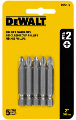 "Dewalt Dw2115 2"" #2 Phillips Power Bits 5 Count"""