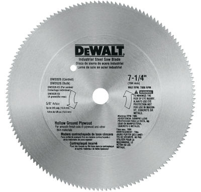 "Dewalt Dw3326 7-1/4"" 140T 5/8"" Hallow Ground SteelCircular Saw Blade"""
