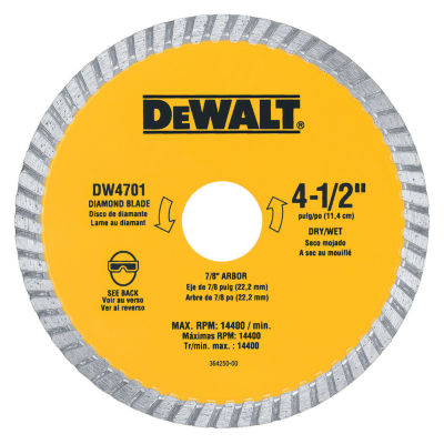 Dewalt Dw4701 4.5IN Dry Cut Diamond Masonry Circular Saw Blades
