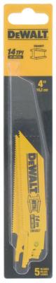 Dewalt Dw4807 5 Pack 4IN 14 Tpi Metal Cutting Reciprocating Saw Blades