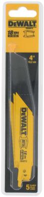 """Dewalt Dw4810 5 Pack 4"""" 18 Tpi Metal Cutting Reciprocating Saw Blades"""""""