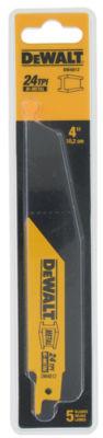 """Dewalt Dw4812 5 Pack 4"""" 24 Tpi Metal Cutting Reciprocating Saw Blades"""""""