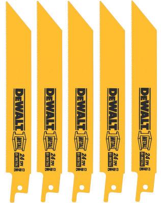"""Dewalt Dw4813 5 Pack 6"""" 24 Tpi Metal Cutting Reciprocating Saw Blades"""""""