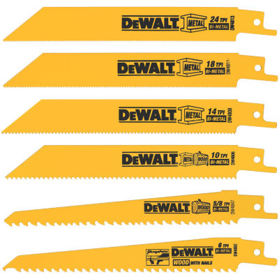 Dewalt Dw4856 6 Piece 6IN Metal & Wood Reciprocating Saw Blade Set