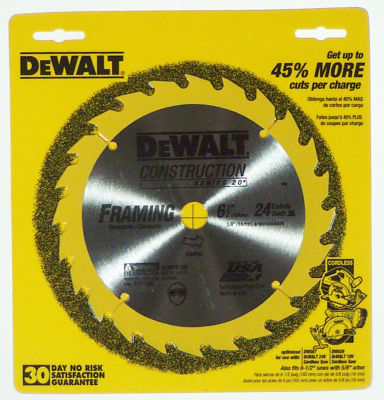 "Dewalt Dw9154 6-1/2"" 24T Carbide Circular Saw Blade"""