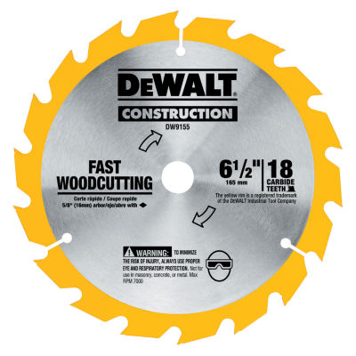 "Dewalt Dw9155 6-1/2"" 16T Carbide Circular Saw Blade"""