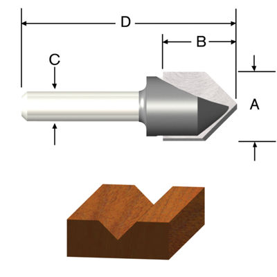Vermont American 23119 1/2IN V Groove Router Bit