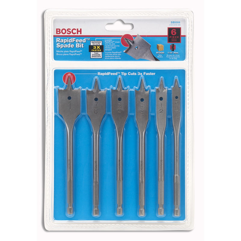 Bosch DSB5006 6 Piece RapidFeed Spade Bit Set, Multi, One Size
