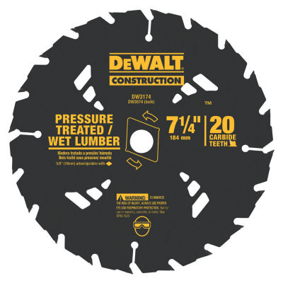 Dewalt Dw3174 7-1/4IN 20 Tpi Pressure Treated & WetLumber Saw Blade