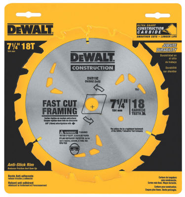 Dewalt Dw3192 7-1/4IN 18 Teeth Finishing Carbide Saw Blade