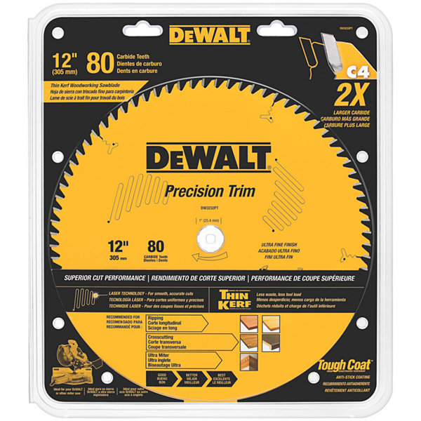 Dewalt Dw3232Pt 12IN 80 Teeth Precision Trim Saw Blade