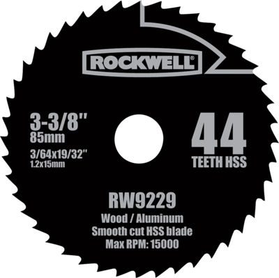 "Rockwell Rw9229 3-3/8"" Versa Cut 44 Teeth Hss Circular Saw Blade"""
