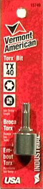Vermont American 15740 3/8IN Tx40 Torx Square DriveSocket Power Bit