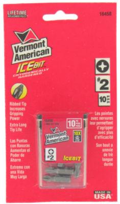 "Vermont American 16458 1"" Ice Bitª #2 Phillips Insert Bit 10 Count"""