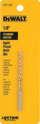"""Dewalt Dw1308 1/8"""" Titanium Split Point Drill Bit"""""""
