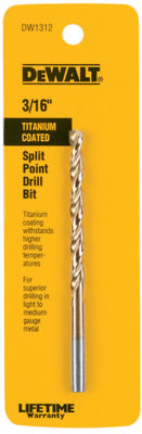 "Dewalt Dw1312 3/16"" Titanium Split Point Drill Bit"""