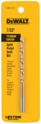 Dewalt Dw1314 7/32IN Titanium Split Point Drill Bit