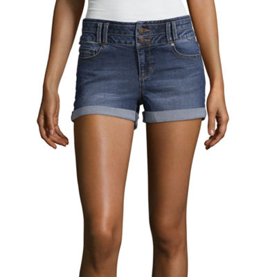 "Blue Spice 2 1/2"" High Rise Denim Shorts-Juniors"