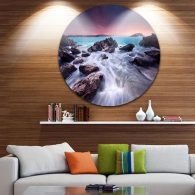Design Art Fascinating View of Rocky Coast Seascape Metal Circle Wall Art
