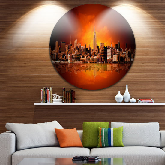 Design Art New York City Panorama in Red Light Ultra Glossy Cityscape Circle Wall Art