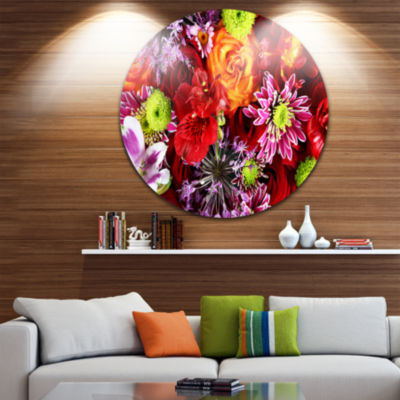 Design Art Colorful Flowers Background Ultra Glossy Floral Metal Circle Wall Art