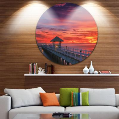 Design Art Long Wooden Bridge and Colorful Sky SeaBridge Metal Circle Wall Art