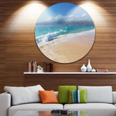 Design Art Large Blue Beach in Gili Island Large Seashore Metal Circle Wall Art