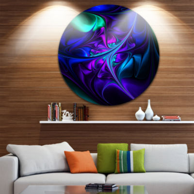 Design Art Bright Blue Abstract Floral Shapes Large Floral Metal Circle Wall Art