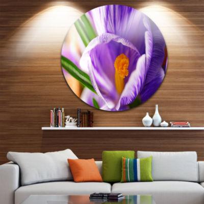 Design Art Blooming Crocus Flower Ultra Glossy Floral Metal Circle Wall Art
