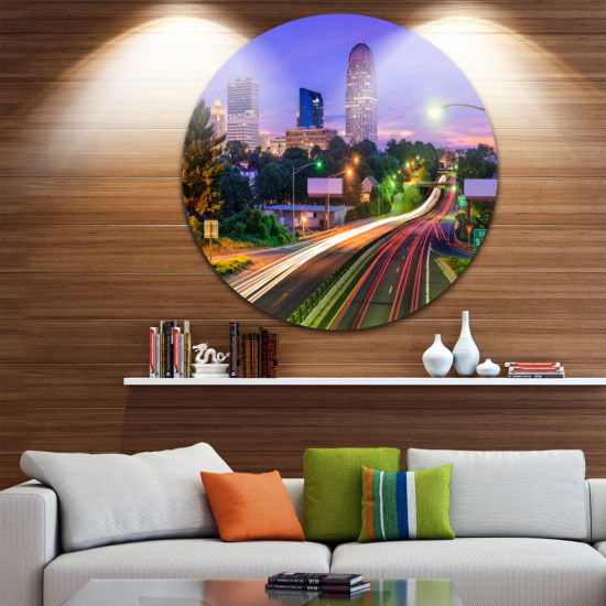 Design Art Winston Salem North Carolina Ultra Glossy Cityscape Metal Circle Wall Art