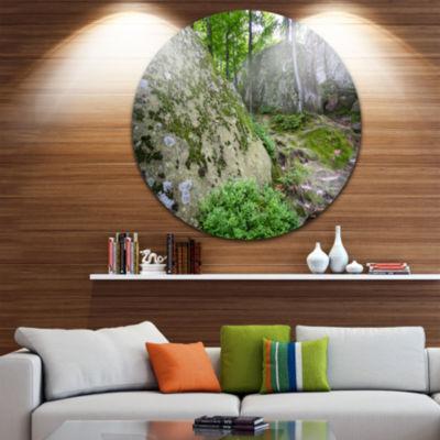 Design Art Rocky Deep Moss Forest Ukraine Landscape Circle Metal Wall Art