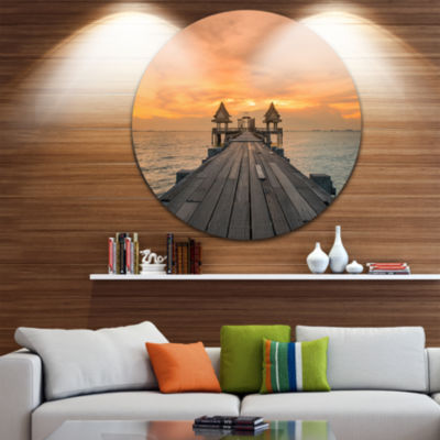 Design Art Massive Wooden Bridge into the Sea PierSeascape Metal Circle Wall Art