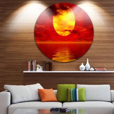 Design Art Golden Sun Sinking in Red Waters LargeSeashore Metal Circle Wall Art