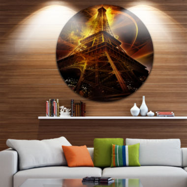 Design Art Paris Paris Eiffel Toweron Fantasy Background Cityscape Metal Circle Wall Art