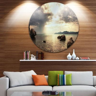 Design Art Rocky Seashore under Clouds Panorama Beach Metal Circle Wall Art