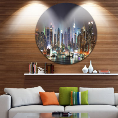Design Art New York Times Square in Blue Light Ultra Glossy Cityscape Circle Wall Art
