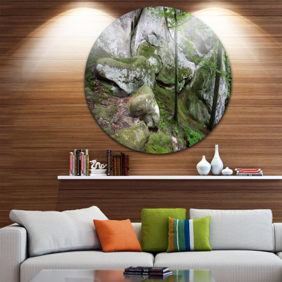 Design Art Deep Moss Forest with Rocks Landscape Metal Circle Wall Art