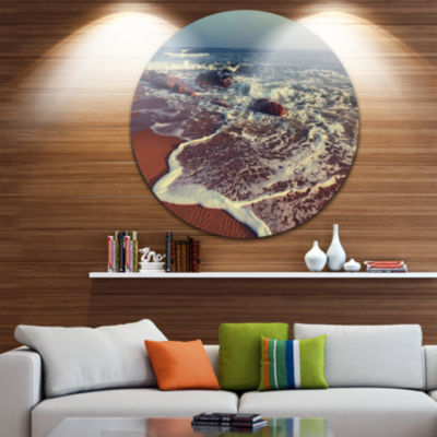 Design Art Foaming Waves Kissing Wide Beach LargeSeashore Metal Circle Wall Art