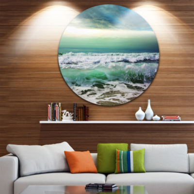Design Art Green Foaming Waves and Blue Sky LargeSeashore Metal Circle Wall Art