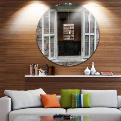 Design Art Wooden Walls and Windows Landscape Metal Circle Wall Art
