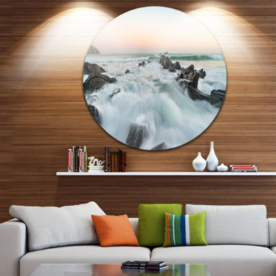 Design Art Sunrise at the Bay of Biscay Beach Metal Circle Wall Art
