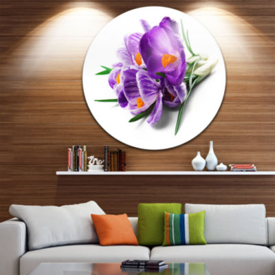 Design Art Bunch of Blooming Crocus Flowers UltraGlossy Floral Metal Circle Wall Art
