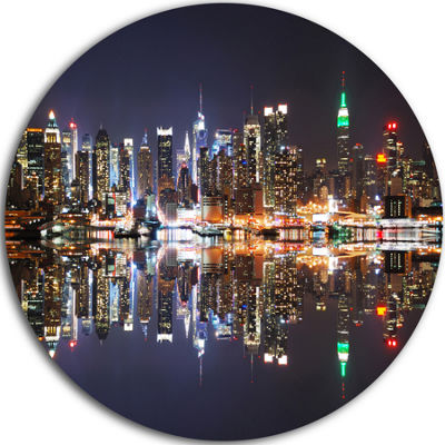 Design Art New York City Skyscrapers in Blue ShadeUltra Glossy Cityscape Circle Wall Art