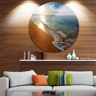 Design Art Gili Island Tropical Beach Large Seashore Metal Circle Wall Art