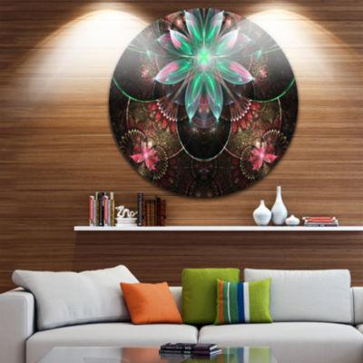 Design Art Large Star Flower Fractal Pattern LargeFloral Metal Circle Wall Art
