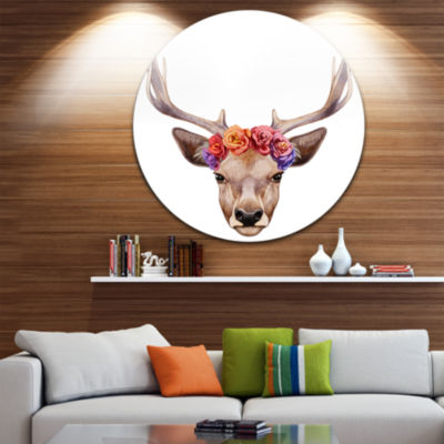 Design Art Deer Portrait with Floral Head Ultra Glossy Deer Animal Metal Circle Wall Art