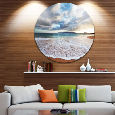 Design Art Deep Seashore with Clouds and Waves Seascape Metal Circle Wall Art