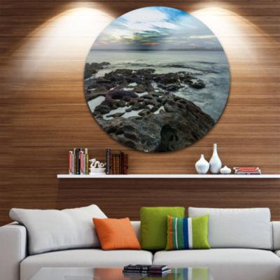 Design Art Beautiful Dark Seashore Australia UltraGlossy Cityscape Metal Circle Wall Art