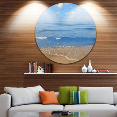 Design Art Expansive Tropical Blue Beach Large Seashore Metal Circle Wall Art